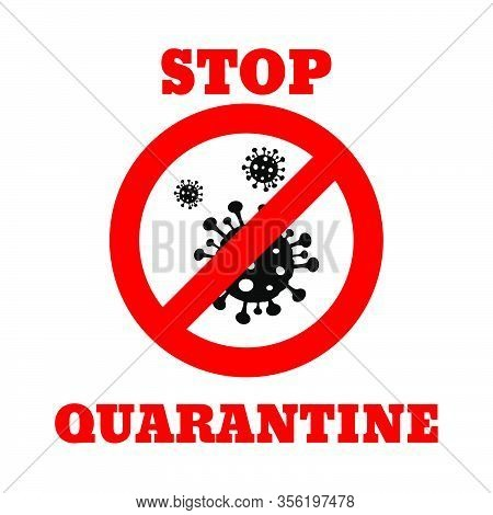 Danger Stop  Quarantine  Sign Virus Bacteria Icon Design Isolated On White Background Vector Illustr