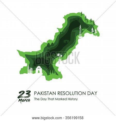 23rd Of March Pakistan Day Celebration. Vector Illustration .pakistan Famous Monuments .pakistan Tou