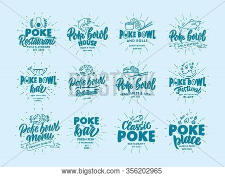 Set Of Vintage Poke Bowl Emblems And Stamps. Fish Bar Badges, Stickers On Blue Background With Rays.