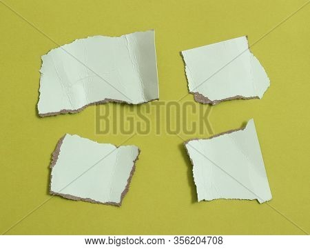 Pieces Of Torn Paper Texture Background, Copy Space For Text.