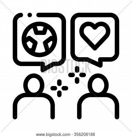 Soccer Fans Dialogue Icon Vector. Outline Soccer Fans Dialogue Sign. Isolated Contour Symbol Illustr