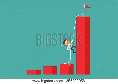 Determined Businessman Climbing Rope To The Top Of Highest Bar Graph. Ambition And Determination Bus