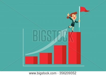 Successful Businesswoman Holding Flag On Top Of Highest Bar Graph. Successful Self Improvement Busin
