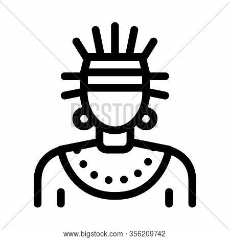 Aztec Shaman Icon Vector. Outline Aztec Shaman Sign. Isolated Contour Symbol Illustration