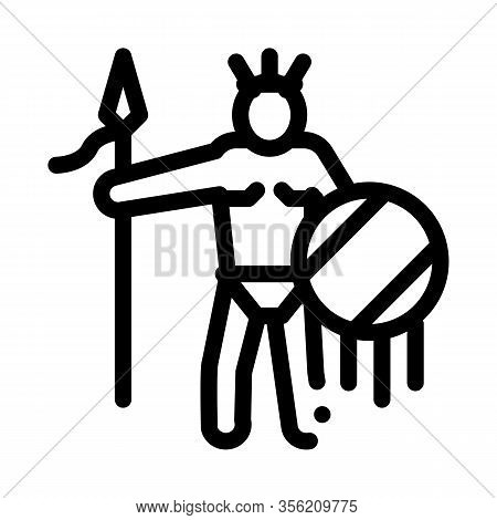 Aztec With Spear And Shield Icon Vector. Outline Aztec With Spear And Shield Sign. Isolated Contour