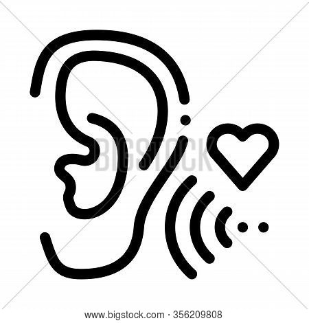 Pleasant Sound For Ear Icon Vector. Outline Pleasant Sound For Ear Sign. Isolated Contour Symbol Ill