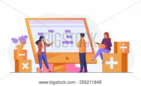 Colleagues Discussing Accounting Statistics Report Using Software Vector Illustration. Bookkeeping A