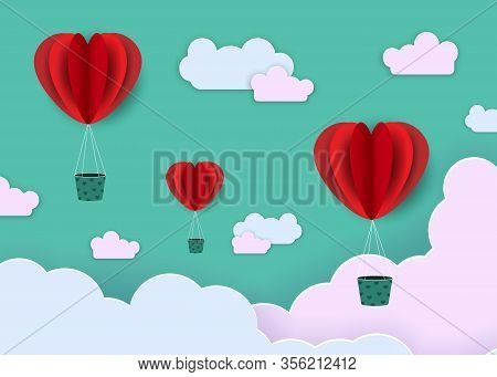 Abstract background in paper style. Red hearts, balloons on a green background. Geometric Gradient Background. Smooth background texture on elegant rich luxury background. Web template or website. Abstract gradient background or textured paper background.