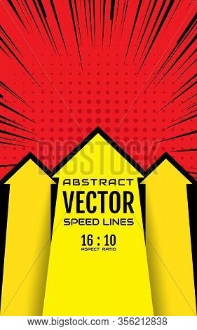 Arrows Up And Speed Lines Background With Space For Text. Effect Motion Lines For Comic Book And Man