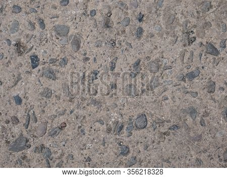 Concrete Wall With Stones Texture, Concrete Wall Or Ground With Stones
