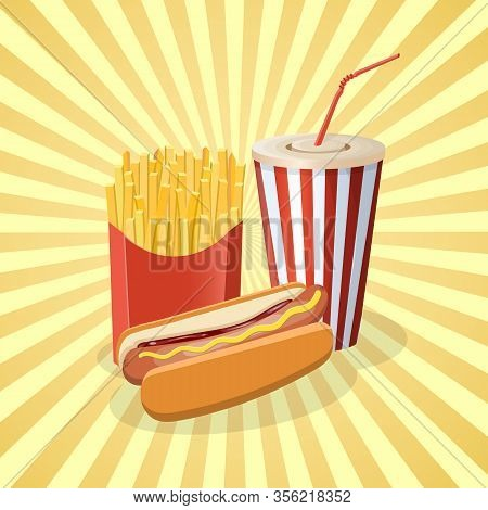 Hot Dog With Fries And Soda Cup - Cute Cartoon Colored Picture. Graphic Design Elements For Menu, Po