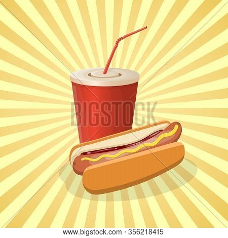 Hot Dog And Soda Cup - Cute Cartoon Colored Picture. Graphic Design Elements For Menu, Poster, Broch
