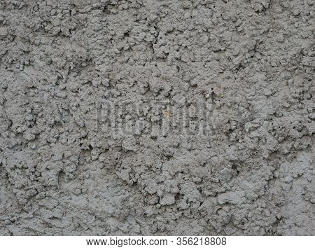 Gray Wall Covered With Rough Plaster, Rough Wall Surface Texture