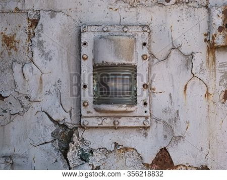 Metal Plate With Cracked Paint, Train Metal With Headlight, Metal Wall Spotlight Frame, Metal Backgr