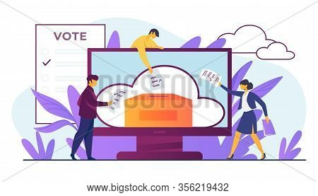 Online Or Electronic Voting. Voters Throwing Forms Into Ballot Box On Monitor Flat Vector Illustrati