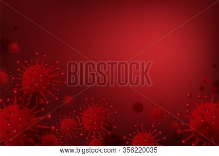 Virus Background Of Coronavirus, Ncov Or Covid-19, Corona Virus Cell 3d Realistic In Red Color On Re