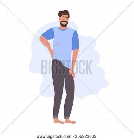 Man Having Pain In His Back Backache Problems Flat Full Length Vector Illustration