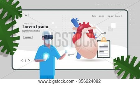 Doctor Wearing Vr Glasses Anatomical Heart Human Body Internal Organ Examination Healthcare Medicine