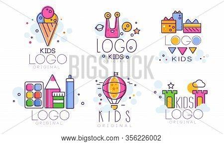 Kids Original Logo Design Collection, Children Education Club, Playground, Zone, Arts Colorful Badge