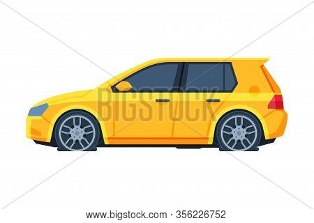 Yellow Car With Flat Tires, Side View, Road Accident Vector Illustration