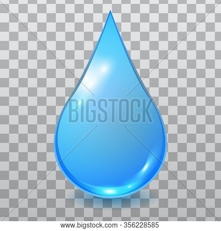 Vector Blue Extended Water Drop Isolated On Checkered Background. Falling Clean Teardrop. 3d Realist
