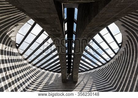 Mogno, Switzerland - June 01, 2018: The Church Of San Giovanni Battista  By The Famous Architect Mar