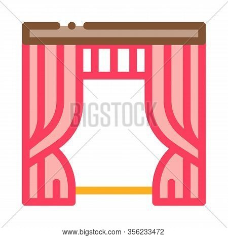Theatrical Curtain Icon Vector. Outline Theatrical Curtain Sign. Isolated Contour Symbol Illustratio