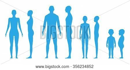 Front And Side View Human Body Silhouette Of An Adult Male, A Female, Gender Neutral, A Teenager And