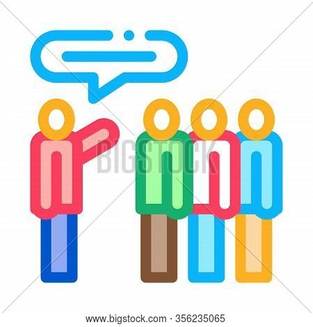 Tourists Group With Guide Icon Vector. Outline Tourists Group With Guide Sign. Isolated Contour Symb
