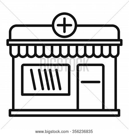 Street Pharmacy Shop Icon. Outline Street Pharmacy Shop Vector Icon For Web Design Isolated On White