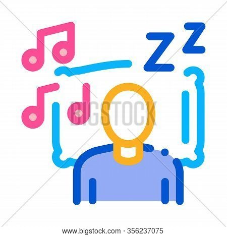 Fall Asleep To Music Icon Vector. Outline Fall Asleep To Music Sign. Isolated Contour Symbol Illustr
