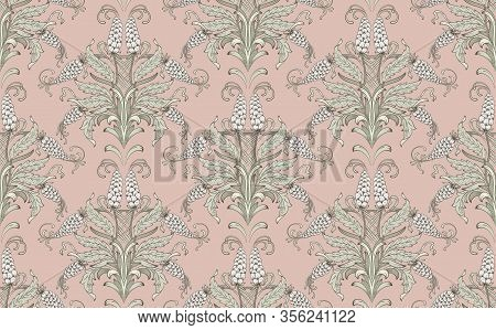 Damask Seamless Emboss Pattern Background. Vector Classical Luxury Old Damask Ornament, Royal Victor