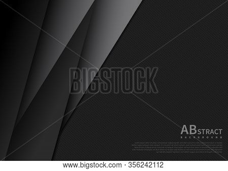 Abstract Black And Gray Geometric Overlapping Dimension Layers 3d Paper Dark Background With Space A