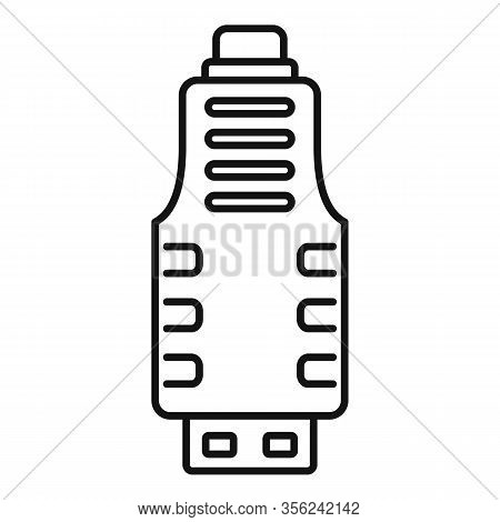 Micro Usb Adapter Icon. Outline Micro Usb Adapter Vector Icon For Web Design Isolated On White Backg