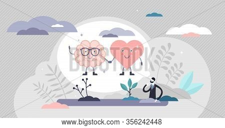 Heart Mind Connection Scene Vector Illustration Flat Tiny Persons Concept. Human Metaphoric Thinking