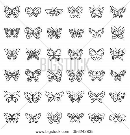 Butterfly Insect Icons Set. Outline Set Of Butterfly Insect Vector Icons For Web Design Isolated On