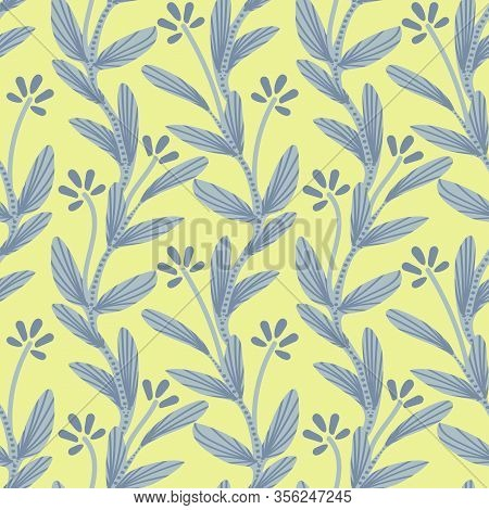 Tiny Floral Lime Green Creeper Seamless Vector Pattern. Simple Creeping Tiny Floral Plant In Grey Wi