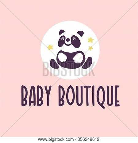 Logo Design For Kid Toys Store, Market, Boutique With Cute Panda Bear Character Silhouette Sitting I