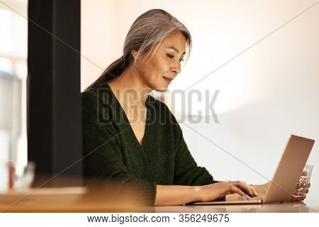 Image of a mature amazing positive optimistic woman indoors using laptop computer.