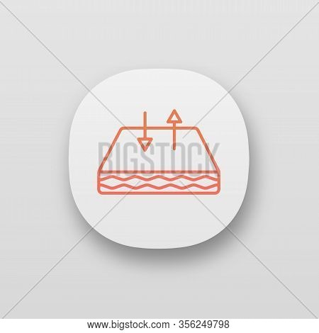 Breathable Mattress App Icon. Crib Mattress With Breathable Cover Fabric. Air Circulation. Ui Ux Use