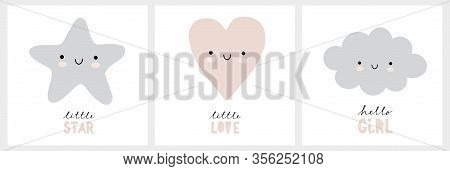 Cute Nursery Vector Wall Art Set. Funny Smiling Star, Lovely Gray Heart And Fluffy Blue Cloud Isolat