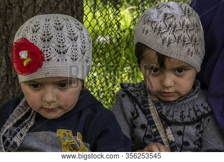 Bartang, Tajikistan - June 17, 2020:  Two Children In The Bartang Vally At The Pamir Highway In Taji
