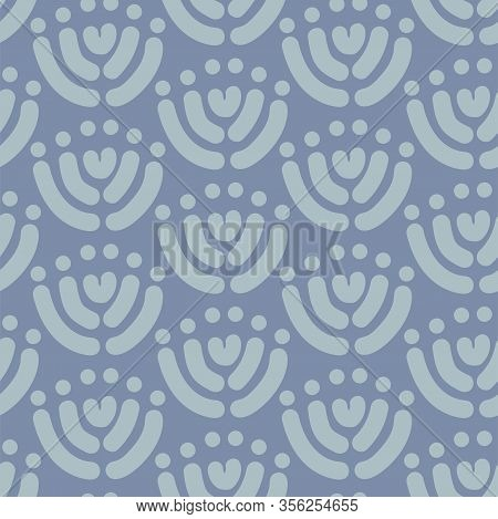 Simple Floral Block Print Style Seamless Vector Pattern. Grey Simple Floral Motif In Block Print Loo
