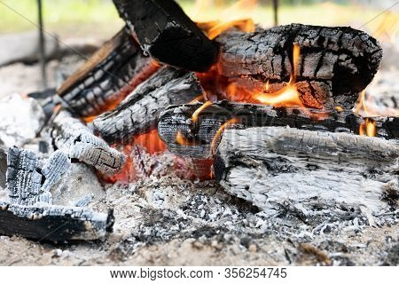 Wooden Logs Or Firewood Burn With Red Yellow Flame Among Pieces Of Embers And Live Coals.