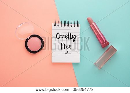 Cruelty Free Concept On Pink And Blue Background
