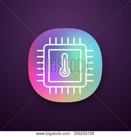 Processor Temperature App Icon. Core Temp. Cpu Overheating. Chip, Microchip, Chipset. Heating Centra