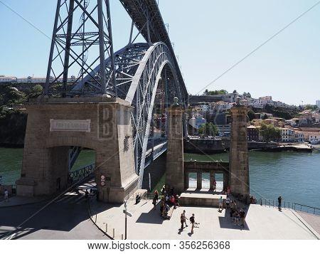 Porto, Portugal On September 2019: Great Double-deck Metal Bridge Over Douro River In Ribeira Area I