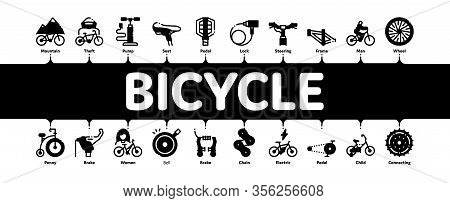 Bicycle Bike Details Minimal Infographic Web Banner Vector. Mountain Bicycle Wheel And Seat, Brake A