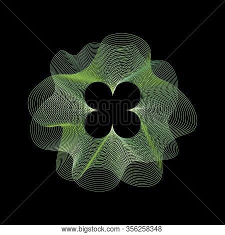 Clover, Quatrefoil, Vector Green Logo, Symbol On Black Background. Guilloche, St Patrick Day Symbol,