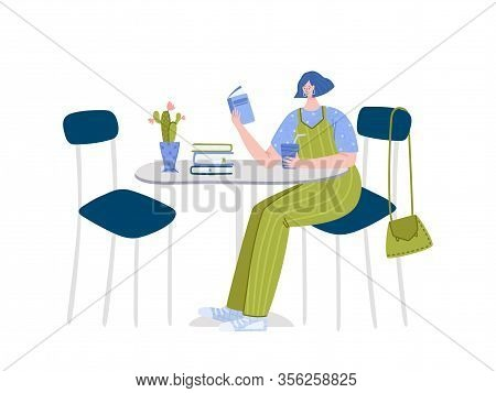 Girl Reading Book Sitting In Cafe Or Her Kitcen, Student Read And Study, Literature Fan Or Lover Con